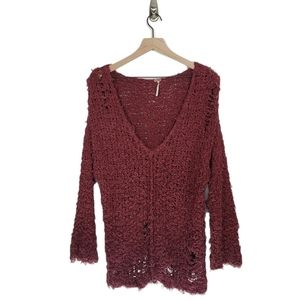 Free People V Neck Distressed Open Knit Sweater